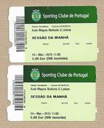 Sporting Club Of Portugal. Entrance Tickets To The 2015 Gymnastics Ward - Tickets - Entradas