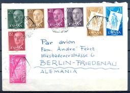 1957 , SANTA CRUZ DE TENERIFE - BERLIN , CORREO AÉREO . SUPERCONSTELLATION 1,40 , PRO INFANCIA HÚNGARA 15 CTS. , 3 PTS. - 1951-60 Covers