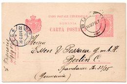 ROMANIA/ROUMANIE - POSTAL STATIONERY/ENTIER FROM BUZAU TO BERLIN 1907 - Romania