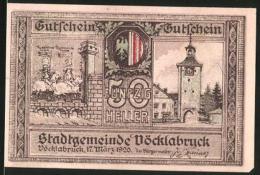Notgeld Vöcklabruck 1920, 50 Heller, Stadttor, Ortsansicht - Austria