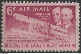 1949 6 Cents Wright Brothers Airmail Mint Never Hinged - United States