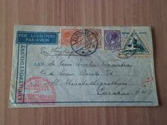 Lettre Avion Zeddam 11/12/1934 Pour Curacao Antilles Néerlandaises 22/12/34 N°139;147;149 PA10 + Flammes + Cachets B/TB - Poststempels/ Marcofilie
