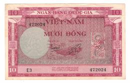 South Vietnam 10 Dong, 1955, VF/XF . Free Ship. To USA. - Vietnam
