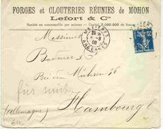 Lettre Avec 25c Semeuse Perforé Des Forges Et Clouteries Réunies De Mohon - Perfins