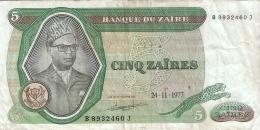 ZAIRE   5 Zaires   24/11/1977  Sign.4   G&D   P. 21b - Zaïre