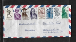 ESPAGNE 1966 LETTRE DE VALENCIA A LEVERKUSEN Mi 1645-1652 - 1931-Aujourd'hui: II. République - ....Juan Carlos I