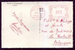 Hotel Le Chamossaire B/w Postcard Leysin Switzerland Helvetia 1968 To Belgium - Covers & Documents