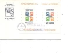 Timbres Sur Timbres ( FDC De Costa-Rica Avec BF Dentelé Et Non Dentelé à Voir) - Sellos Sobre Sellos