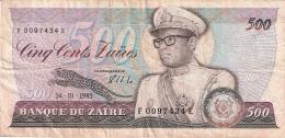 ZAIRE   500 Zaires   14/10/1985   Sign.7   G&D   P. 30b - Zaïre
