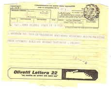 ^ TELEGRAMMA PUBBLICITA´ ROMA BOLOGNA BENCIVENGA COLUMMI SANTORO YOMO DOCUMENTO 46 - Historical Documents