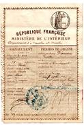 PERMIS De CHASSE. NANCY (54) PREFECTURE De MEURTHE -et-MOSELLE. 1888. DELIVRE Au SIEUR FLORENTIN  EMILE. OMELMONT (54) - Documents Historiques