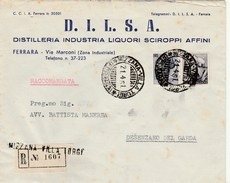 6145 Lc. Busta Raccomandata  D.I.L.S.A. Distilleria Liquori Mizzana  Villa Turgi Ferrara Per Desenzano Del Garda 1951 - 1946-.. République