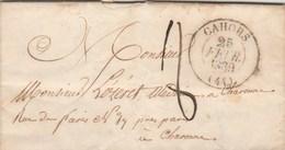 Lettre Cachet CAHORS Lot 25/2/1839 Taxe Manuscrite 8 Pour Médecin à Charonne Près Paris Seine - Marcophilie (Lettres)