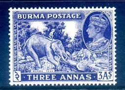 Burma 1946 KGVI New Colours - 3a Teak & Elephant - Blue-violet - HM (SG 57a) - Burma (...-1947)