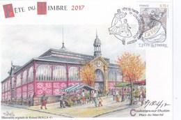 """Carte Locale Fête Du Timbre 2017 Coulonges Sur L'Autize """"place Du Marché"""" Signée R.Irolla. - Unclassified"""