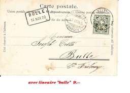 """TYPE CHIFFRE  CARTE POSTALE AVEC CACHET """"LAME DE RASOIR """" DE LAUSANNE - 14.11.00 - + CAHET MESSAGERIE DE BULLE 14.NOV.00 - Briefe U. Dokumente"""