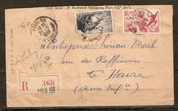Y & T N° 764 POINTE DU RAZ + PA 17 PERFORÉS SUR LETTRE RECOMMANDÉ PARIS 106 20 MAI 1949 POUR LE HAVRE  - ZOOM 3 Scans - - Perfins