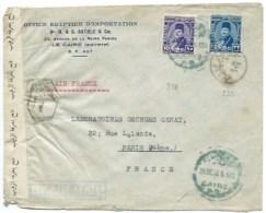ENVELOPPE LE CAIRE EGYPTE  . CENSURE POUR PARIS FRANCE 1918