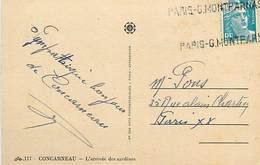 PIE-17-F.804 : CARTE POSTALE CONCARNEAU. SARDINES. CACHET PARIS-GARE MONTPARNASSE - Curiosities: 1945-49 Covers & Documents
