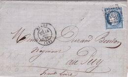 205 - LAC - CERES  60  -    - NÎMES  -  LE PUY - Postmark Collection (Covers)