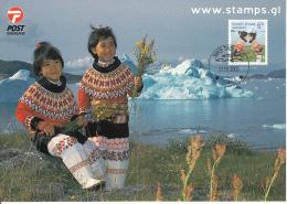 Greenland Postcard 2 Native Children Holding Flowers - Groenland