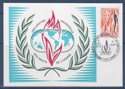 = 25ème Anniversaire De La Déclaration Universelle Des Droits De L'Homme N°1781 Carte Postale Premier Jour Paris 8.12.73 - Maximumkarten