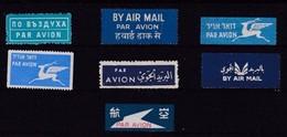 PAR AVION - BY AIR MAIL - Lot De 7 Vignettes Différentes - 7 Different Labels - Numéro 1 - Vignetten (Erinnophilie)