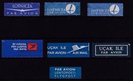 PAR AVION - BY AIR MAIL - Lot De 7 Vignettes Différentes - 7 Different Labels - Numéro 4 - Vignetten (Erinnophilie)