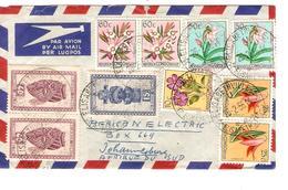 Belgisch Congo Belge TP Fleurs&Masques S/L.Avion C.Elisabethville 26/2/1956 V.Johannesburg Afrique Du Sud PR4246 - Poste Aérienne: Lettres