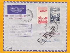 1948 - Envel. Par Avion De  Casablanca Vers Buenos Aires, Argentine - 20e Anniv. 1e Liaison Aérienne France Amerique Du - Storia Postale