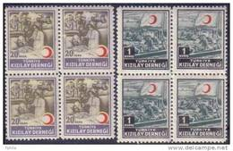 1953 TURKEY RED CRESCENT ASSOCIATION CHARITY STAMPS BLOCK OF 4 MNH ** - 1921-... République