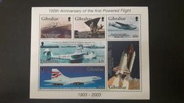 GIBRALTAR 2003 100 Anniv First Powered Flight Avions Aircraft Aeronaval Avion Concorde Plane (~FACE VALUE) MNH ** - Gibraltar