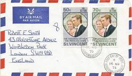 St Vincent 1973 Kingstown Royal Wedding Princess Ann FDC Cover - St.Vincent (1979-...)
