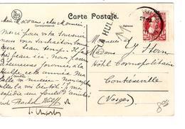 TP 74 S/CP La Hulpe Les Sorbiers C.Bruxelles En 1911 + Griffe La Hulpe V.Contrexéville France PR4251 - Postmark Collection