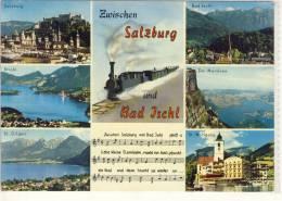 Eisenbahn, Train - Zwischen SALZBURG Und BAD ISCHL, Mehrbild AK,  Ge. 1969 V. St. Wolfgang - Bad Ischl