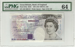 Great Britain 20 Pounds 1991 P384a First Prefix. Very Low Serial Number. Graded 64 Choice UNC By PMG - 1952-… : Elizabeth II