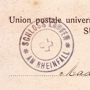 Carte Postale Suisse 1903 Schloss Laufen Am Rheinfall Neuhausen - 1882-1906 Coat Of Arms, Standing Helvetia & UPU
