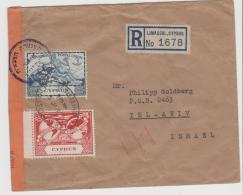 Zyp005 / Limasol 1950 Nach Tel Aviv Mit Israelischer Zensur - Cyprus (...-1960)