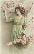 AK Fröhliche Pfingsten, Frau In Grünem Kleid, Blüten, Ca. 1900er Jahre (5754) - Pentecôte