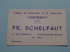 """"""" DERBY """" Fabriek Confectie St. Nicolas-Waes Knaptandstr. ( Visitekaart / Briefkaarten En Briefhoofd ) Tel 174 & 760174 - Visitekaartjes"""