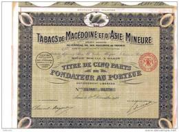DECO : TABACS DE MACEDOINE & D´ASIE MINEURE (P.F) TITRE DE CINQ PARTS - Asie