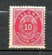 ISLANDE  1876 (*)  Y&T N° 8   - P14 X 13.5  -  Sans Gomme - Without Gum - Neufs