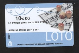 GIFT CARD - Carte Cadeau Auchan - LOTO - 10 € - LE PAPIER DANS TOUS SES ETATS - Cartes Cadeaux