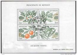 Obl. Monaco N° 1790 à 1793 Ou BF N°  54 NATURE - Quatre Saisons - L Oranger