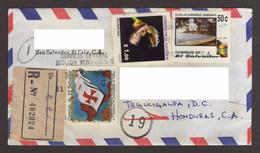 El Salvador, Cover Sent San Salvador-Tegucigalpa, Stamps V Centennial Discovery America, Flowers, Beaches, 1996 - El Salvador