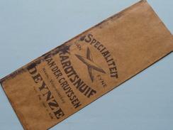 VAN DER CRUYSSEN Specialiteit KAROTSNUIF - DEYNZE  ( Papieren Zakje 15,5 X 5,5 Cm. ) Anno 19?? ( Zie Foto's) ! - Autres Collections
