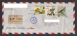 El Salvador, Cover Sent From San Salvador-Danli With Sports Stamps, Plants, Birds, 1994 - El Salvador