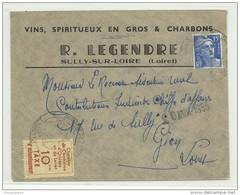 Grève D'Orléans 10F Jaune Sur Lettre Avec  15F Marianne De Gandon Bleu - Postmark Collection (Covers)