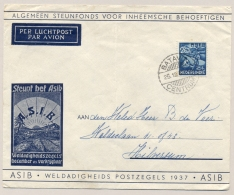 Nederlands Indië - 1937 - 20+5 Cent Asib, Enkelfrankering Van Batavia Op Asib-cover Naar Hilversum / Nederland - Nederlands-Indië