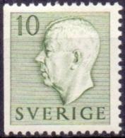 ZWEDEN 1951-1957 10öre Driezijdig Getand Groen Gustaf VI Adolf Type I PF-MNH